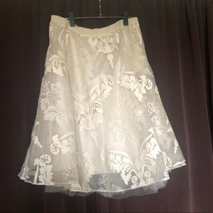 Anthropologie ivory printed skirt